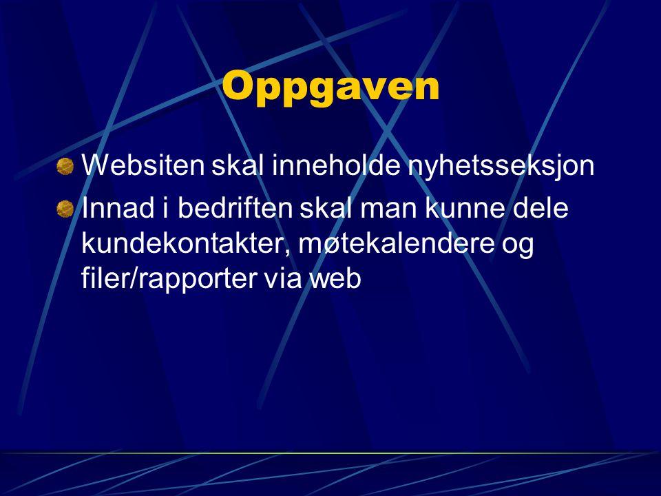 Oppgaven Websiten skal inneholde nyhetsseksjon Innad i bedriften skal man kunne dele kundekontakter, møtekalendere og filer/rapporter via web