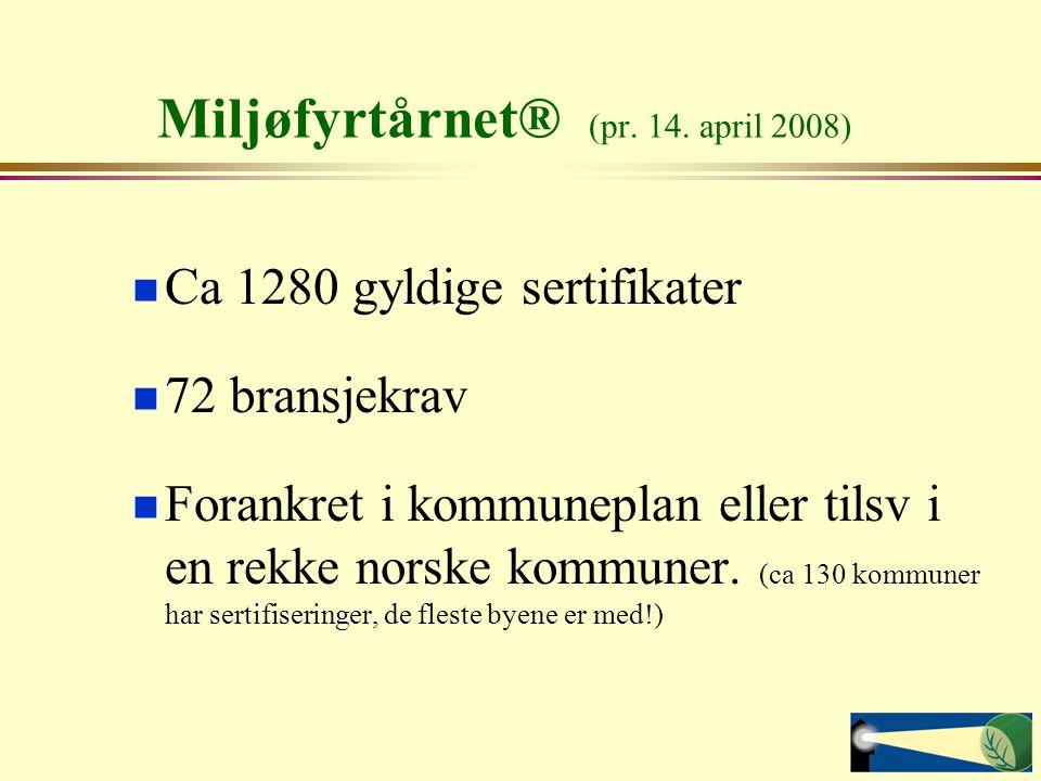 Miljøfyrtårnet® (pr. 14. april 2008) Ca 1280 gyldige sertifikater 72 bransjekrav Forankret i kommuneplan eller tilsv i en rekke norske kommuner. (ca 1