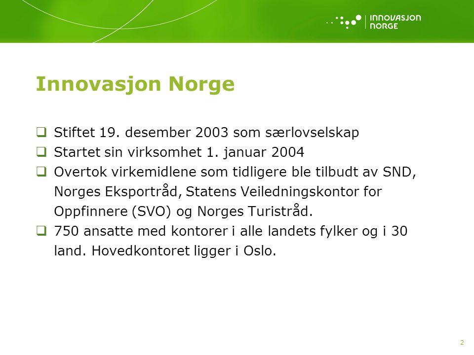 2 Innovasjon Norge  Stiftet 19. desember 2003 som særlovselskap  Startet sin virksomhet 1. januar 2004  Overtok virkemidlene som tidligere ble tilb