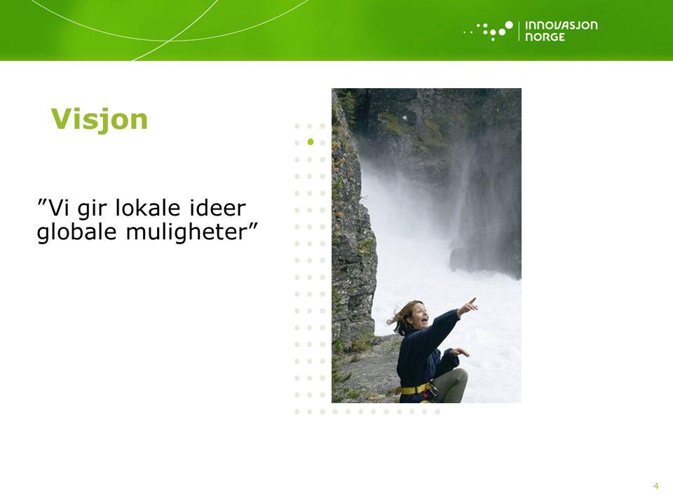 """4 Visjon """"Vi gir lokale ideer globale muligheter"""""""