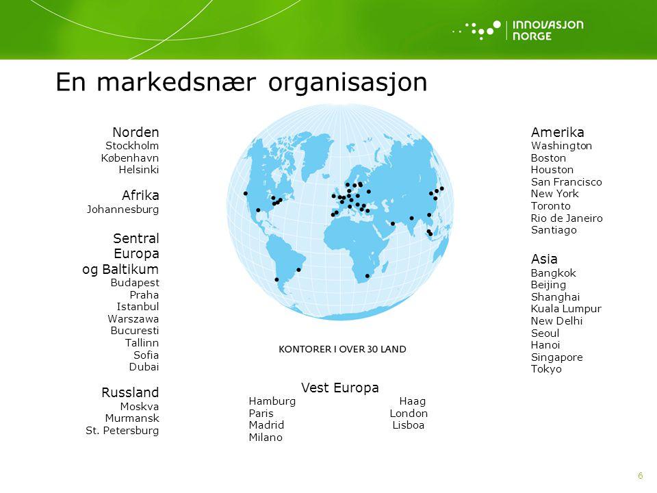 7 77 Innovasjon Norge skal bistå norske bedrifter med vekstambisjoner å lykkes i internasjonal konkurranse – enten bedriften møter konkurransen på hjemme- markedet eller i internasjonale markeder - ved hjelp av: kompetanse, rådgivning, nettverk, finansiering og eksponering