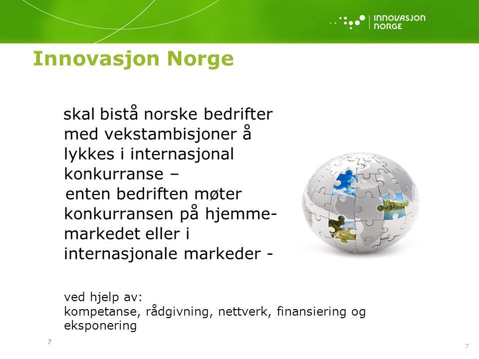 7 77 Innovasjon Norge skal bistå norske bedrifter med vekstambisjoner å lykkes i internasjonal konkurranse – enten bedriften møter konkurransen på hje