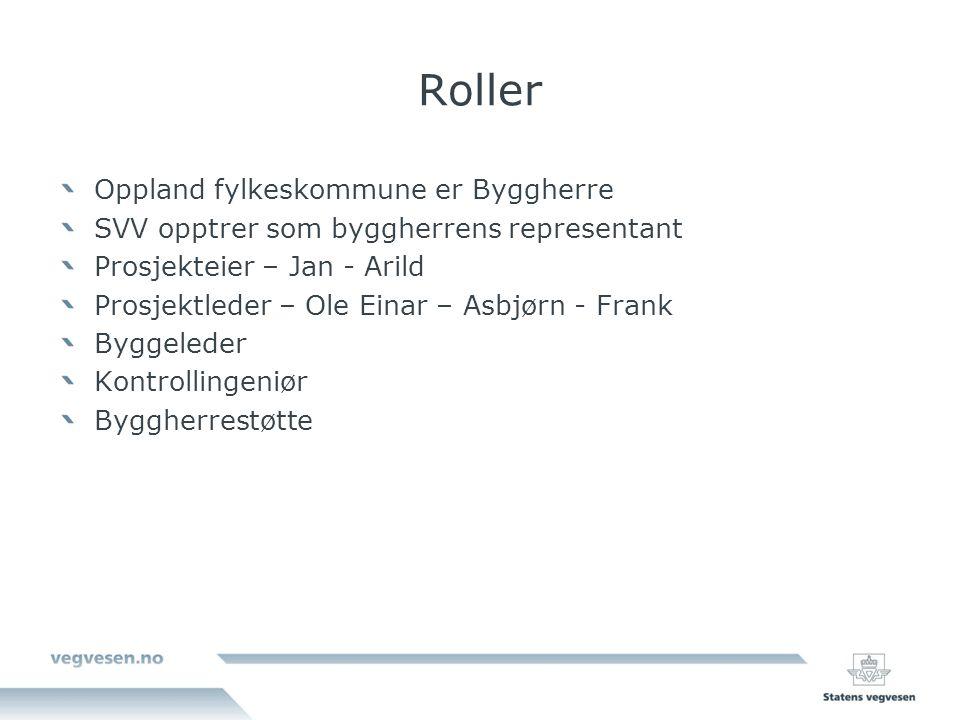 Roller Oppland fylkeskommune er Byggherre SVV opptrer som byggherrens representant Prosjekteier – Jan - Arild Prosjektleder – Ole Einar – Asbjørn - Frank Byggeleder Kontrollingeniør Byggherrestøtte