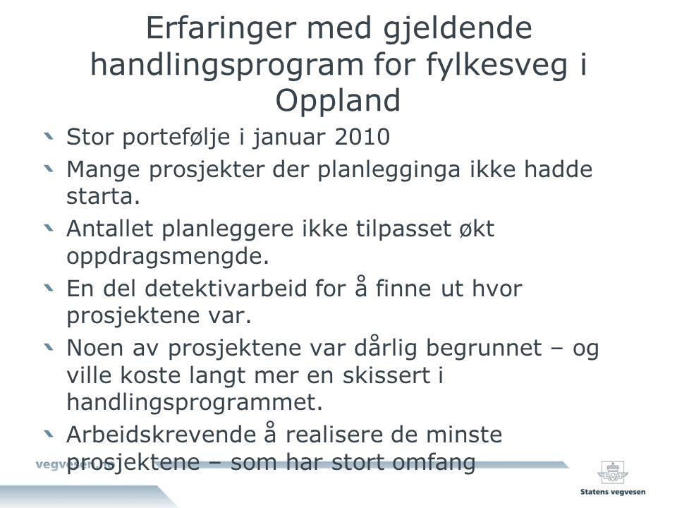 Erfaringer med gjeldende handlingsprogram for fylkesveg i Oppland Stor portefølje i januar 2010 Mange prosjekter der planlegginga ikke hadde starta.