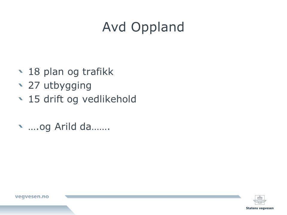 Avd Oppland 18 plan og trafikk 27 utbygging 15 drift og vedlikehold ….og Arild da…….