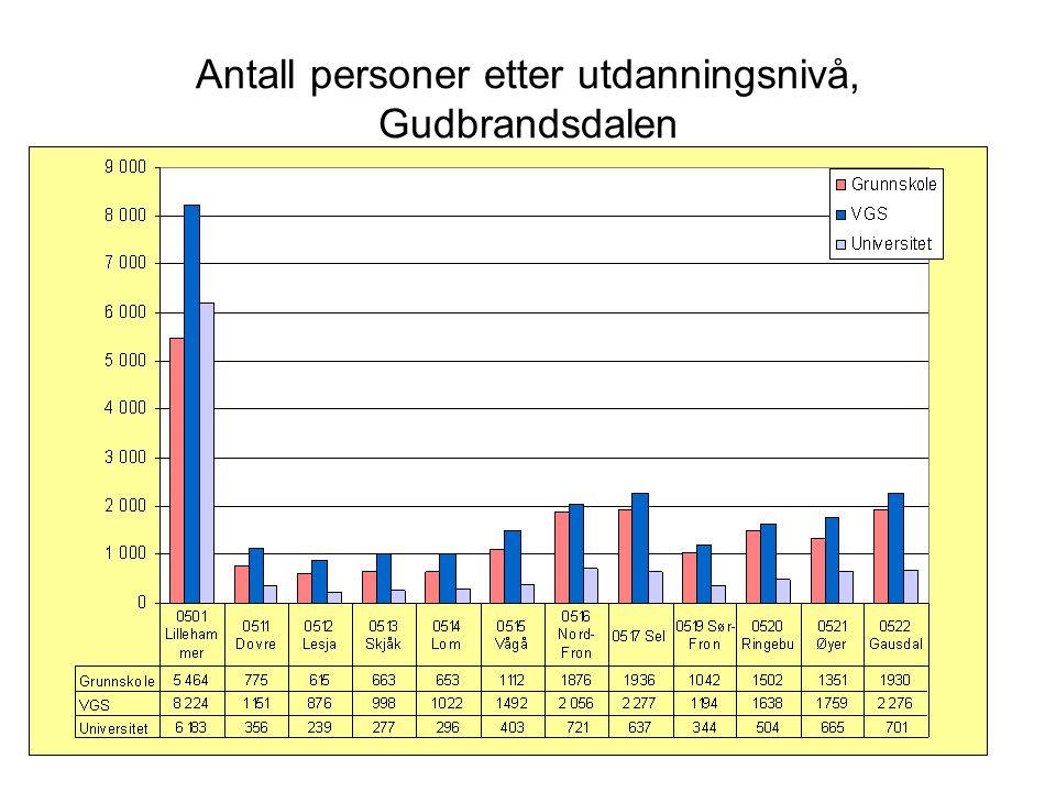 Antall personer etter utdanningsnivå, Gudbrandsdalen