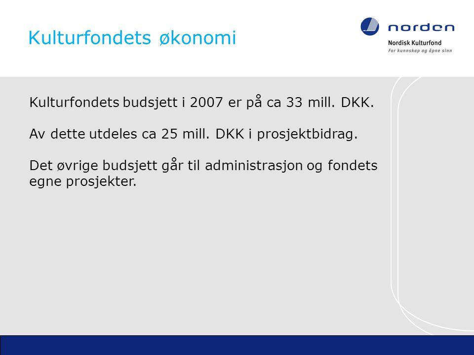 Kulturfondets økonomi Kulturfondets budsjett i 2007 er på ca 33 mill.