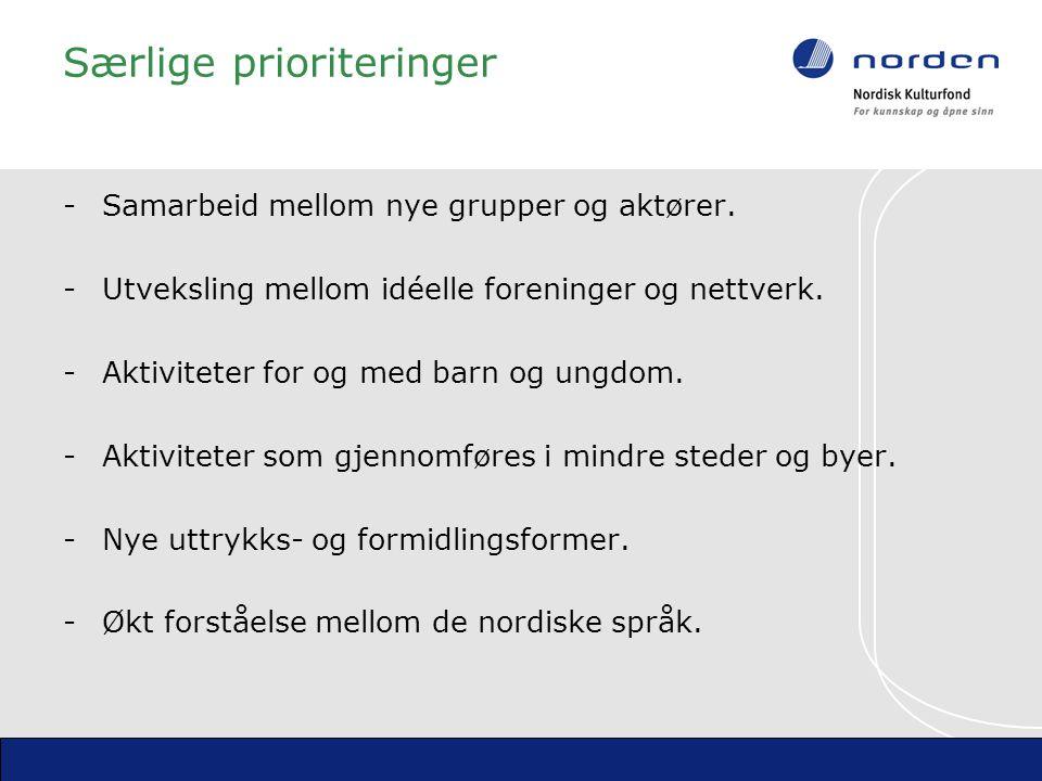 Særlige prioriteringer - Samarbeid mellom nye grupper og aktører.