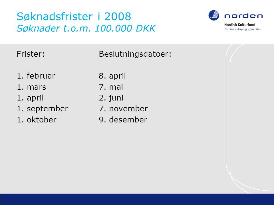 Søknadsfrister i 2008 Søknader t.o.m. 100.000 DKK Frister:Beslutningsdatoer: 1.