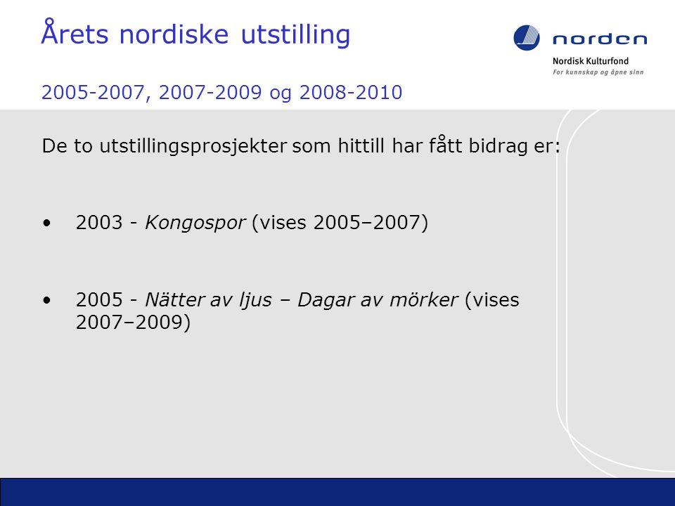 De to utstillingsprosjekter som hittill har fått bidrag er: Årets nordiske utstilling 2005-2007, 2007-2009 og 2008-2010 2003 - Kongospor (vises 2005–2007) 2005 - Nätter av ljus – Dagar av mörker (vises 2007–2009)