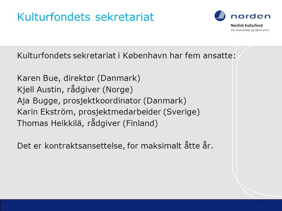 Nordisk Kulturfonds sekretariat Nordisk Ministerråds og Nordisk Råds sekretariat Kulturfondets kontoradresse Store Kongensgade 36, København