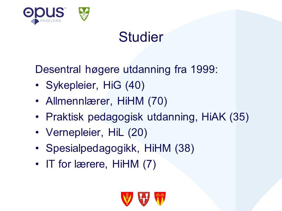 Studier Desentral høgere utdanning fra 1999: Sykepleier, HiG (40) Allmennlærer, HiHM (70) Praktisk pedagogisk utdanning, HiAK (35) Vernepleier, HiL (20) Spesialpedagogikk, HiHM (38) IT for lærere, HiHM (7)