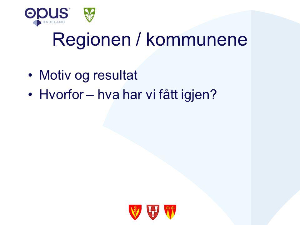 Regionen / kommunene Motiv og resultat Hvorfor – hva har vi fått igjen