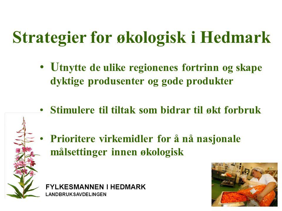 Strategier for økologisk i Hedmark FYLKESMANNEN I HEDMARK LANDBRUKSAVDELINGEN U tnytte de ulike regionenes fortrinn og skape dyktige produsenter og gode produkter Stimulere til tiltak som bidrar til økt forbruk Prioritere virkemidler for å nå nasjonale målsettinger innen økologisk
