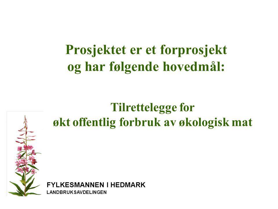 FYLKESMANNEN I HEDMARK LANDBRUKSAVDELINGEN 1.Etablere en prosjektorganisasjon med forankring hos offentlige oppdragsgivere og produsentorganisasjoner.