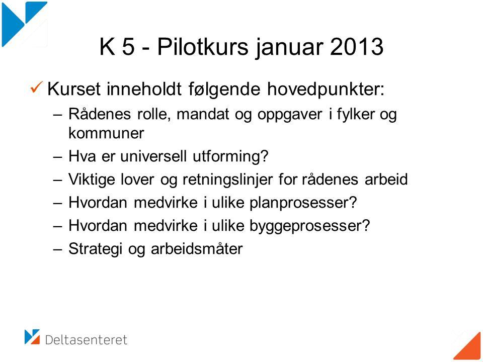 K 5 - Pilotkurs januar 2013 Kurset inneholdt følgende hovedpunkter: –Rådenes rolle, mandat og oppgaver i fylker og kommuner –Hva er universell utformi