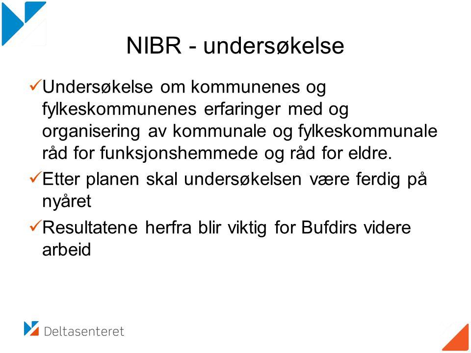 NIBR - undersøkelse Undersøkelse om kommunenes og fylkeskommunenes erfaringer med og organisering av kommunale og fylkeskommunale råd for funksjonshem