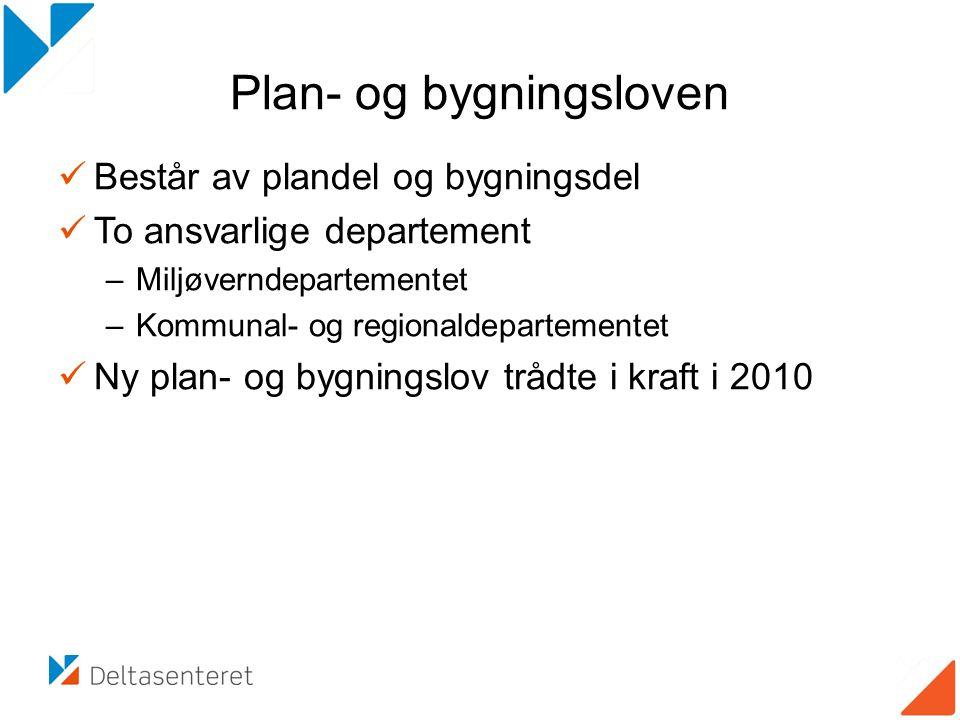 Plan- og bygningsloven Består av plandel og bygningsdel To ansvarlige departement –Miljøverndepartementet –Kommunal- og regionaldepartementet Ny plan-
