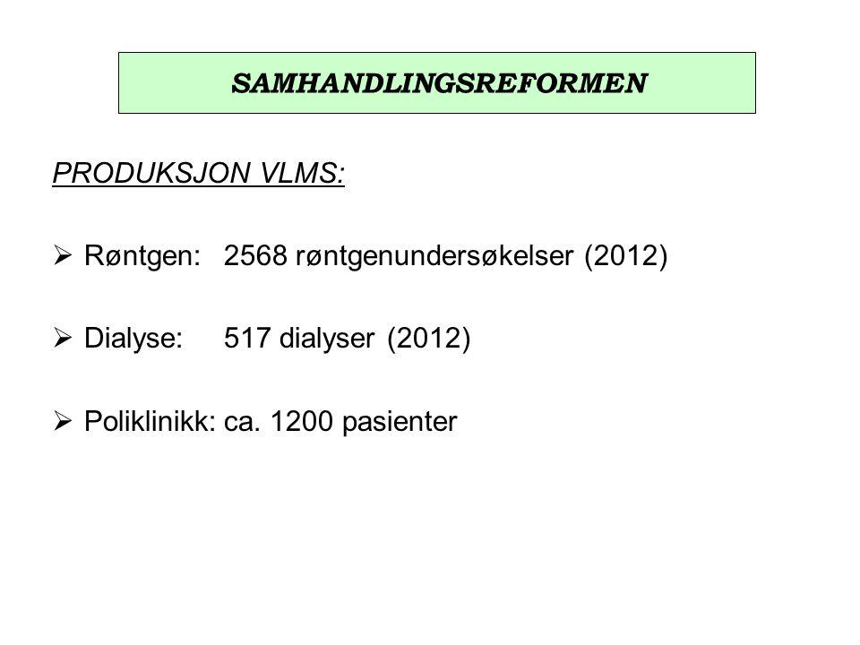 PRODUKSJON VLMS:  Røntgen:2568 røntgenundersøkelser (2012)  Dialyse:517 dialyser (2012)  Poliklinikk:ca.