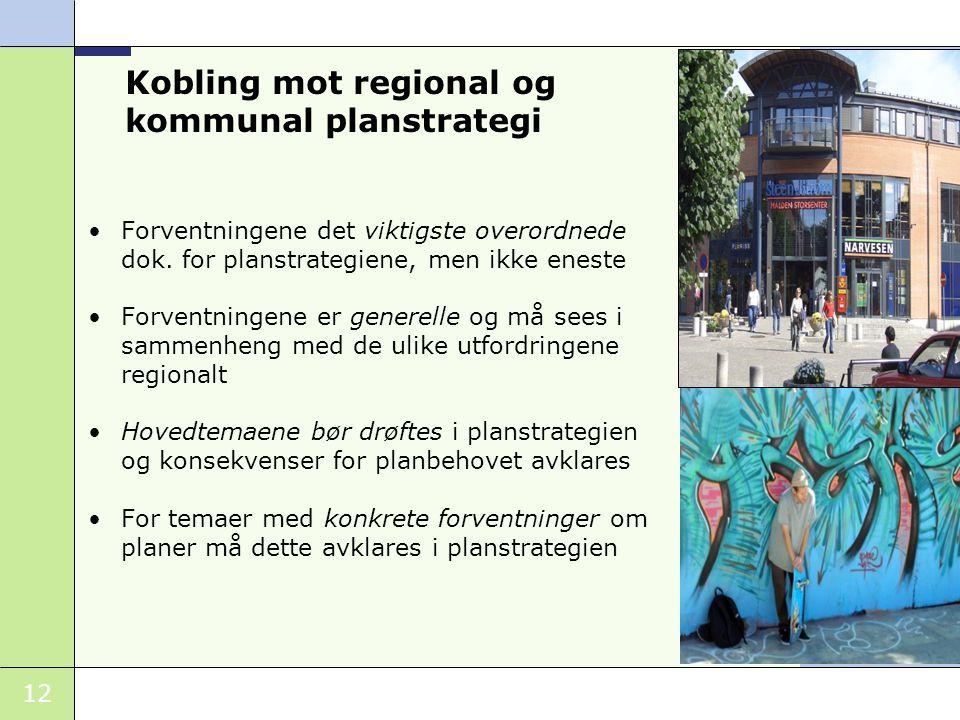 12 Kobling mot regional og kommunal planstrategi Forventningene det viktigste overordnede dok. for planstrategiene, men ikke eneste Forventningene er