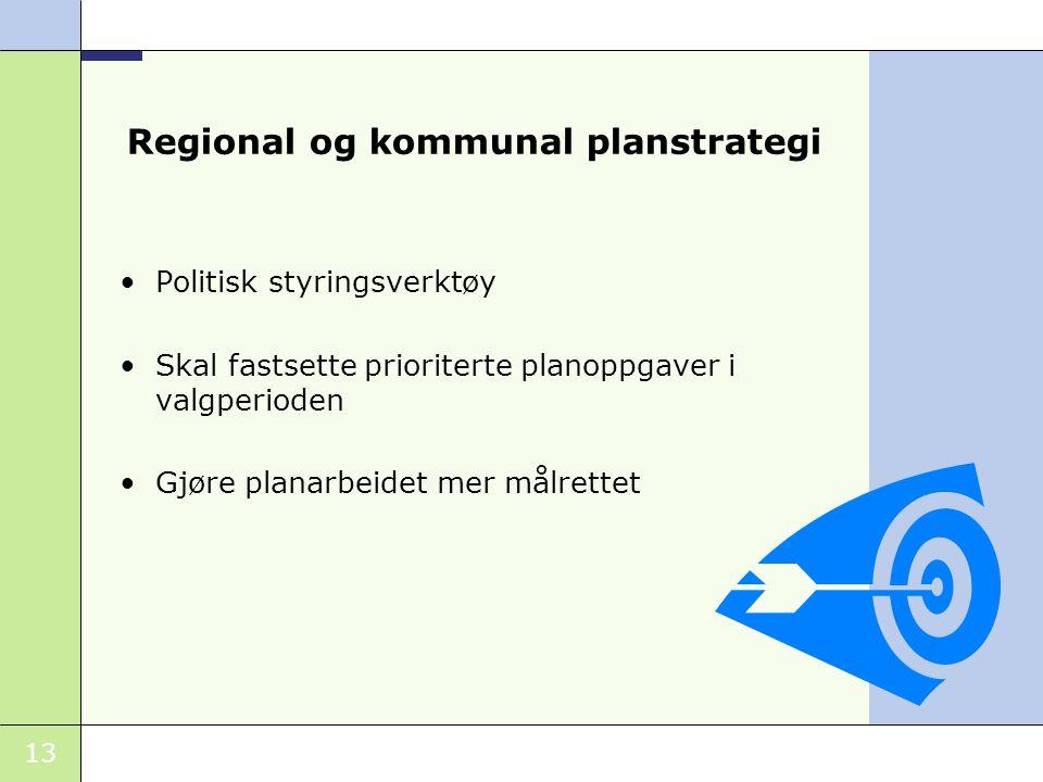 13 Regional og kommunal planstrategi Politisk styringsverktøy Skal fastsette prioriterte planoppgaver i valgperioden Gjøre planarbeidet mer målrettet