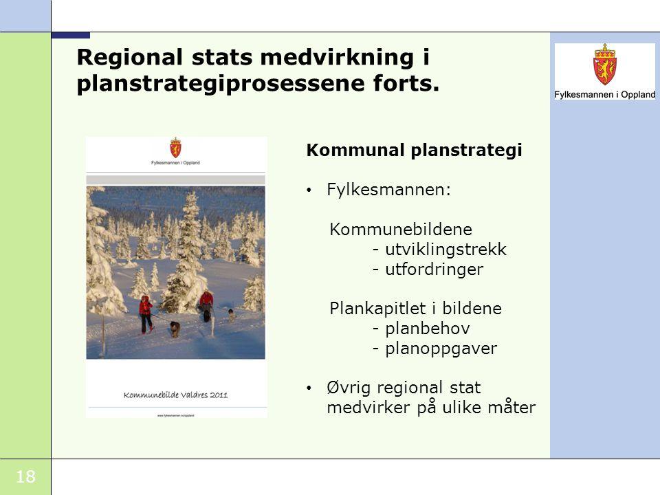 18 Regional stats medvirkning i planstrategiprosessene forts. Kommunal planstrategi Fylkesmannen: Kommunebildene - utviklingstrekk - utfordringer Plan