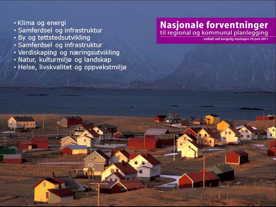 19 Klima og energi Samferdsel og infrastruktur By og tettstedsutvikling Samferdsel og infrastruktur Verdiskaping og næringsutvikling Natur, kulturmilj