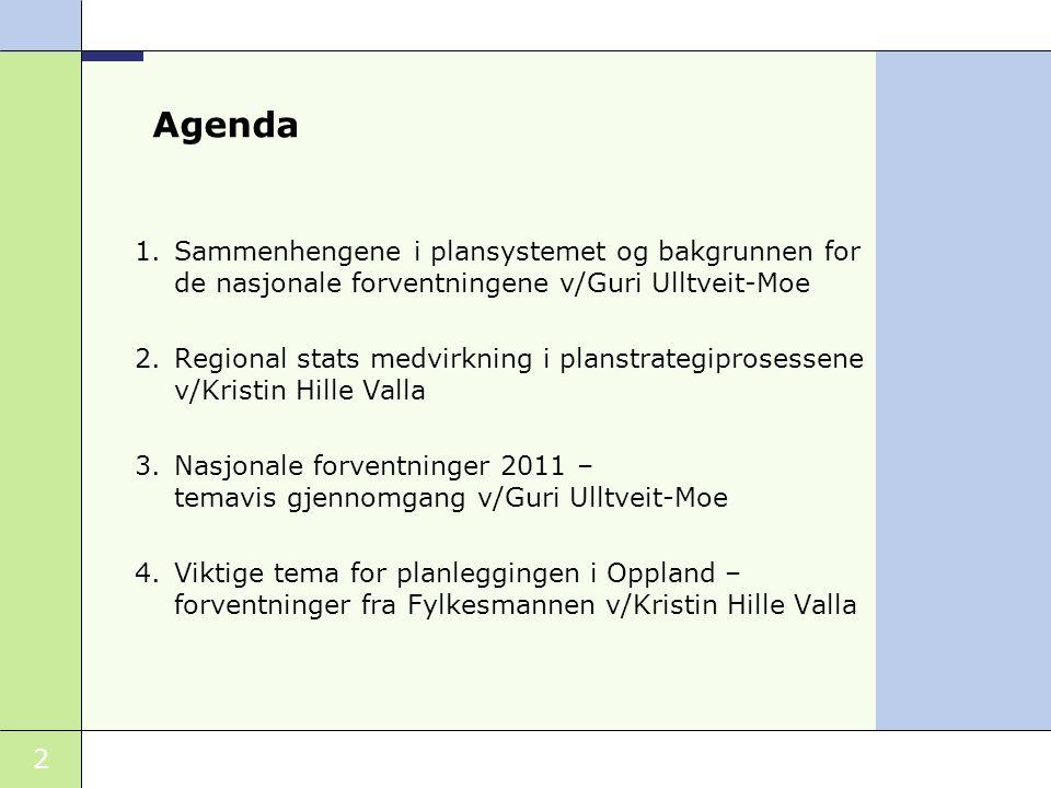 2 Agenda 1.Sammenhengene i plansystemet og bakgrunnen for de nasjonale forventningene v/Guri Ulltveit-Moe 2.Regional stats medvirkning i planstrategip