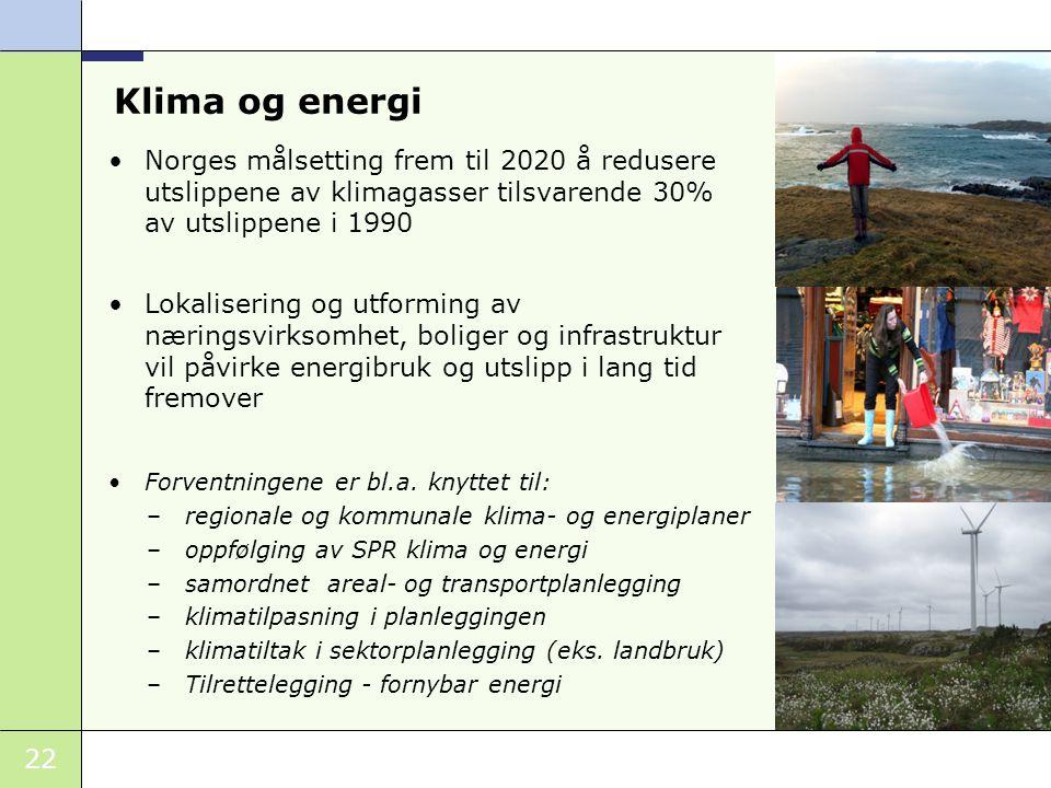 22 Norges målsetting frem til 2020 å redusere utslippene av klimagasser tilsvarende 30% av utslippene i 1990 Lokalisering og utforming av næringsvirks