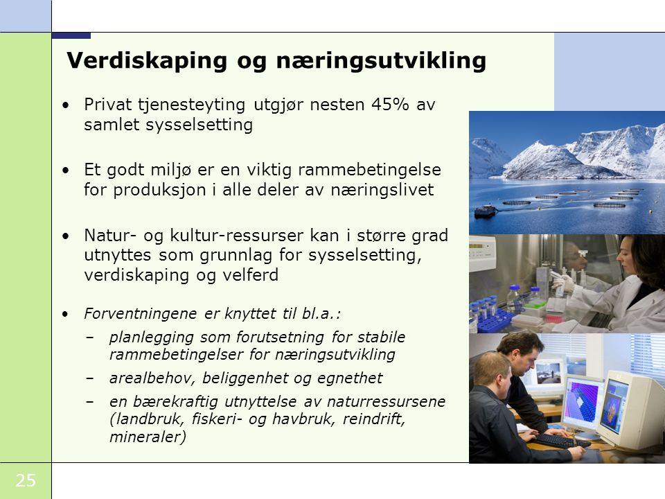 25 Verdiskaping og næringsutvikling Privat tjenesteyting utgjør nesten 45% av samlet sysselsetting Et godt miljø er en viktig rammebetingelse for prod