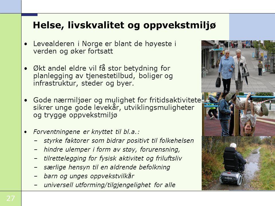 27 Helse, livskvalitet og oppvekstmiljø Levealderen i Norge er blant de høyeste i verden og øker fortsatt Økt andel eldre vil få stor betydning for pl