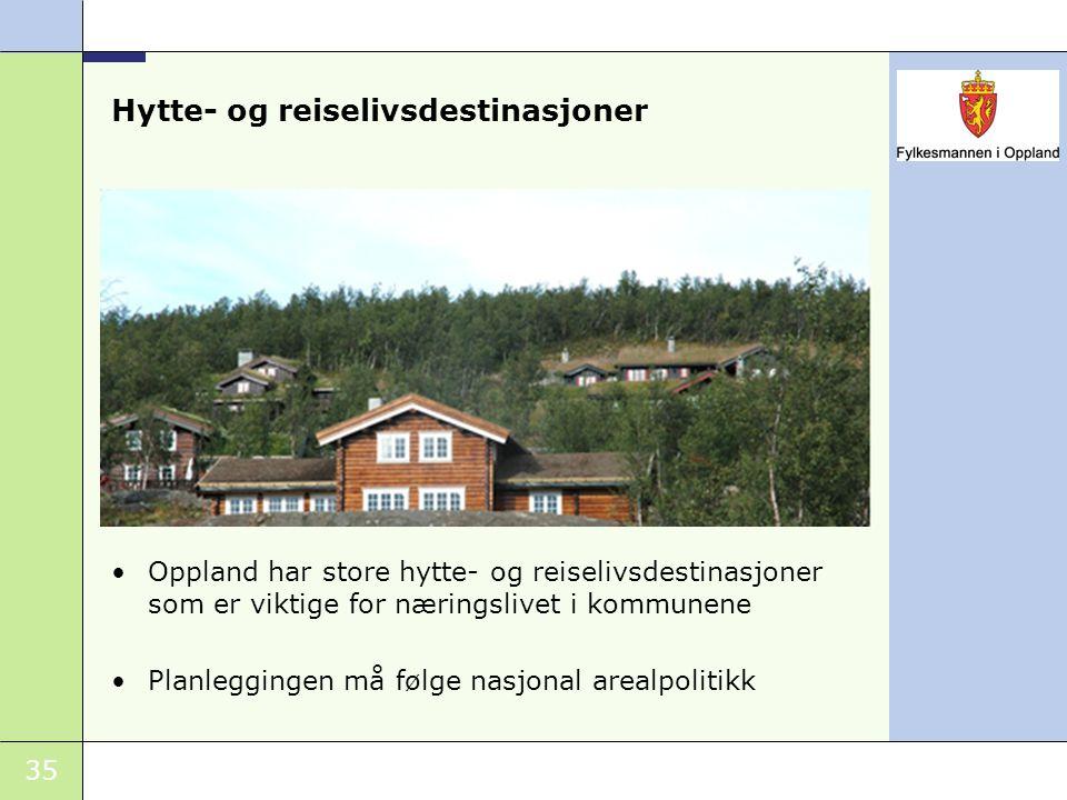 35 Oppland har store hytte- og reiselivsdestinasjoner som er viktige for næringslivet i kommunene Planleggingen må følge nasjonal arealpolitikk Hytte-