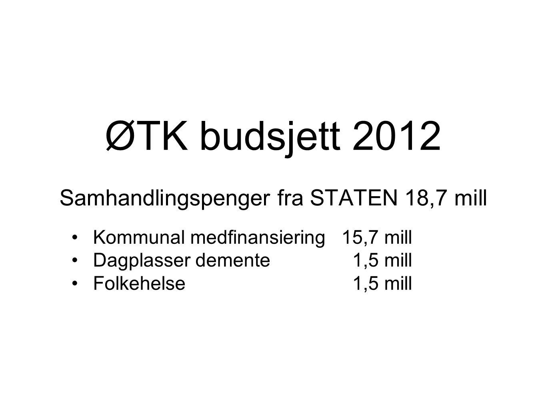 ØTK budsjett 2012 Samhandlingspenger fra STATEN 18,7 mill Kommunal medfinansiering15,7 mill Dagplasser demente 1,5 mill Folkehelse 1,5 mill