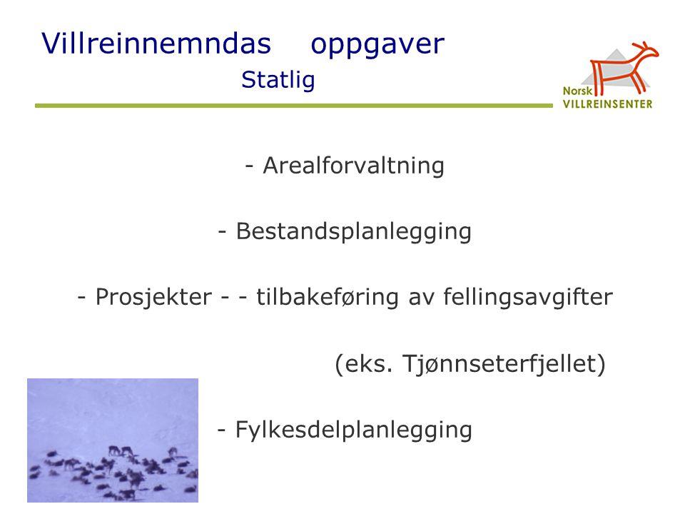 Villreinnemndas oppgaver Statlig - Arealforvaltning - Bestandsplanlegging - Prosjekter - - tilbakeføring av fellingsavgifter (eks. Tjønnseterfjellet)