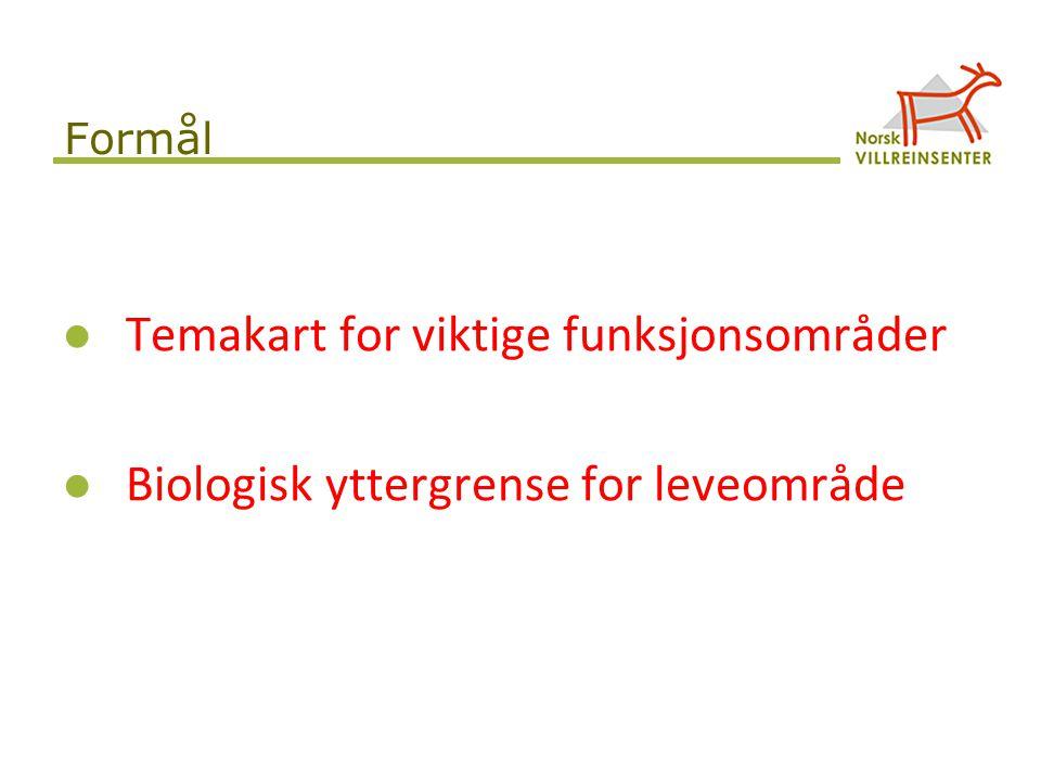 Temakart for viktige funksjonsområder Biologisk yttergrense for leveområde Formål