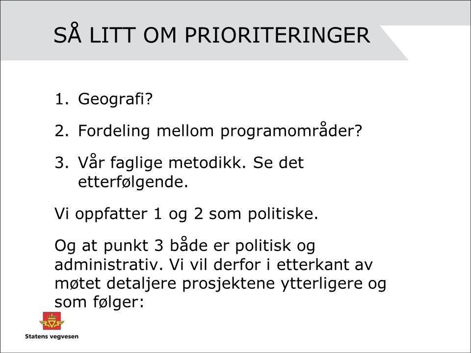 SÅ LITT OM PRIORITERINGER 1.Geografi. 2.Fordeling mellom programområder.