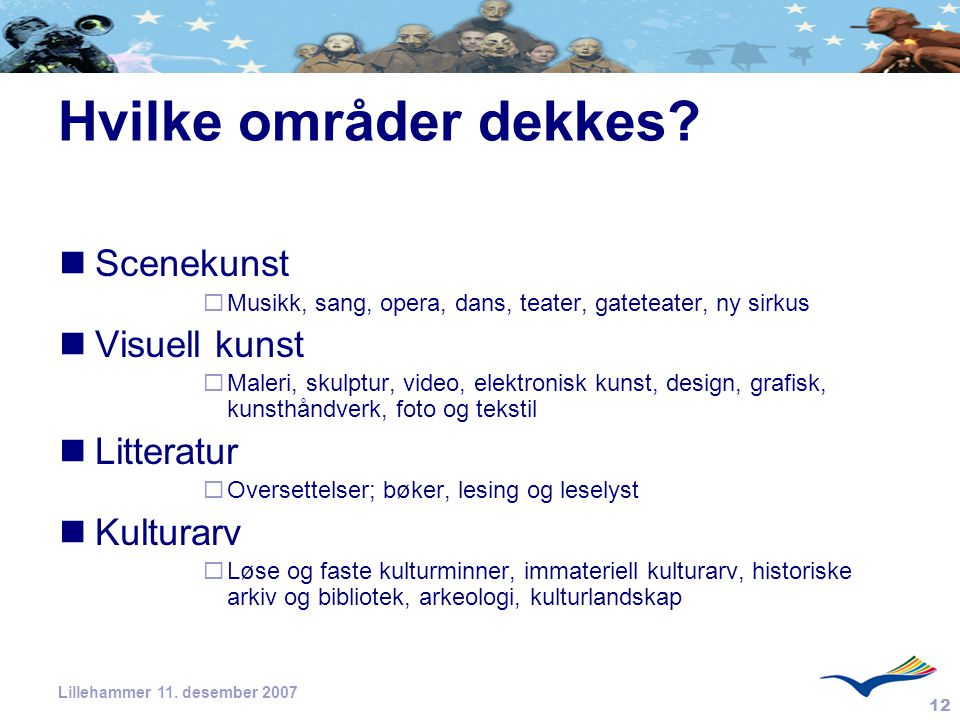 12 Lillehammer 11. desember 2007 Hvilke områder dekkes? Scenekunst  Musikk, sang, opera, dans, teater, gateteater, ny sirkus Visuell kunst  Maleri,