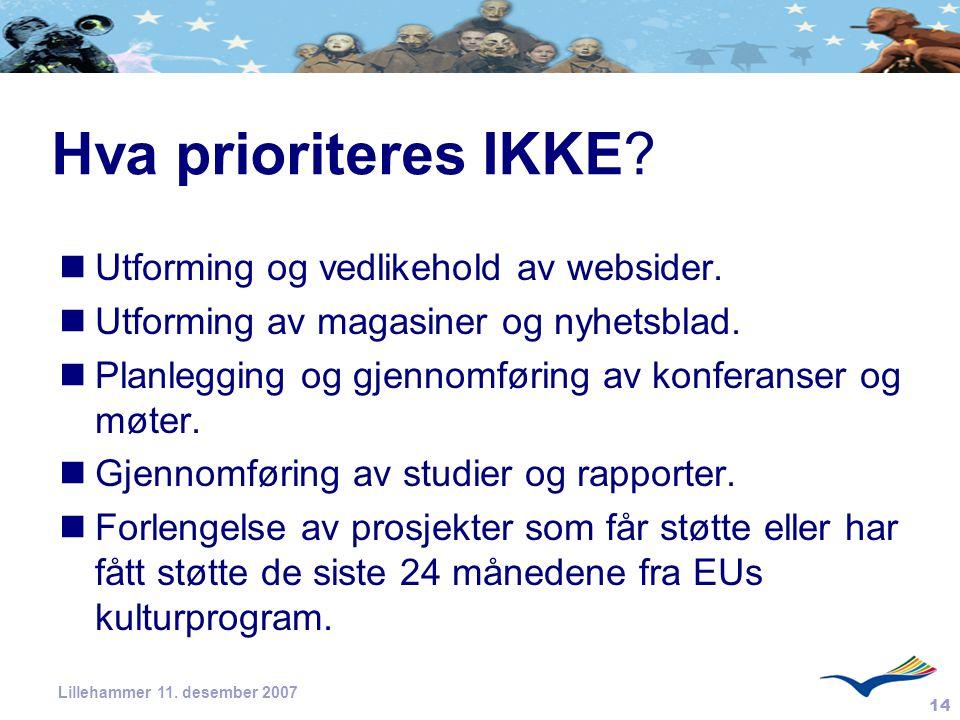 14 Lillehammer 11. desember 2007 Hva prioriteres IKKE? Utforming og vedlikehold av websider. Utforming av magasiner og nyhetsblad. Planlegging og gjen