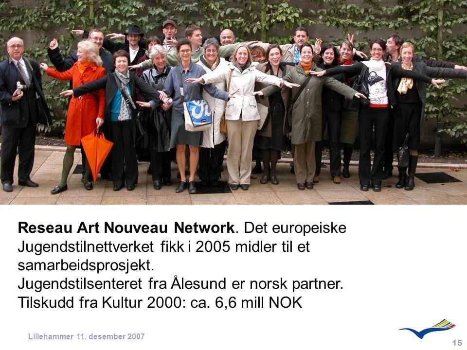15 Lillehammer 11. desember 2007 Reseau Art Nouveau Network. Det europeiske Jugendstilnettverket fikk i 2005 midler til et samarbeidsprosjekt. Jugends