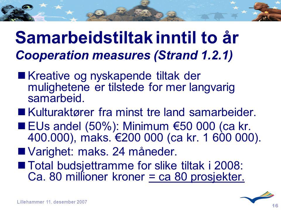 16 Lillehammer 11. desember 2007 Samarbeidstiltakinntil to år Cooperation measures (Strand 1.2.1) Kreative og nyskapende tiltak der mulighetene er til