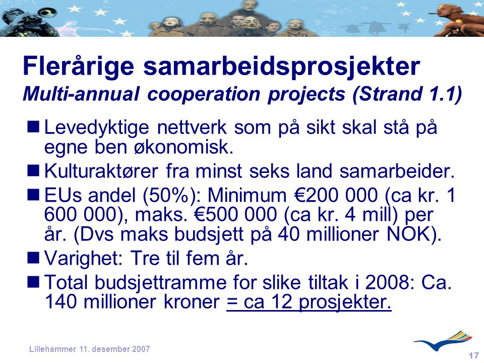 17 Lillehammer 11. desember 2007 Flerårige samarbeidsprosjekter Multi-annual cooperation projects (Strand 1.1) Levedyktige nettverk som på sikt skal s
