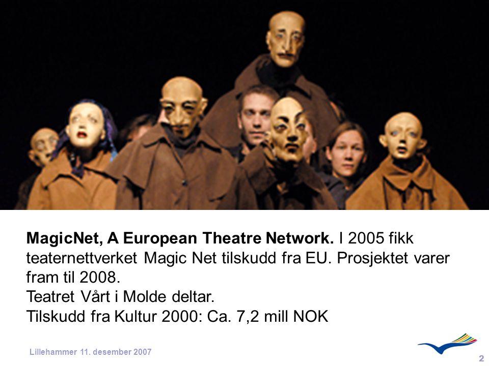 2 Lillehammer 11. desember 2007 MagicNet, A European Theatre Network. I 2005 fikk teaternettverket Magic Net tilskudd fra EU. Prosjektet varer fram ti