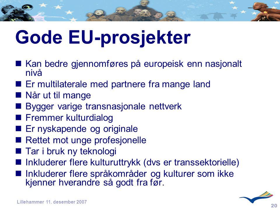 20 Lillehammer 11. desember 2007 Gode EU-prosjekter Kan bedre gjennomføres på europeisk enn nasjonalt nivå Er multilaterale med partnere fra mange lan