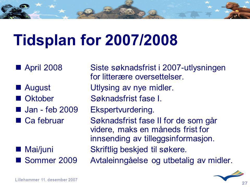 27 Lillehammer 11. desember 2007 Tidsplan for 2007/2008 April 2008 Siste søknadsfrist i 2007-utlysningen for litterære oversettelser. August Utlysing