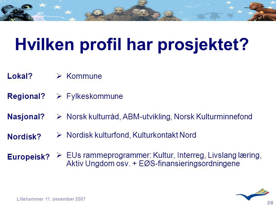 28 Lillehammer 11. desember 2007 Hvilken profil har prosjektet? Lokal? Regional? Nasjonal? Nordisk? Europeisk?  Kommune  Fylkeskommune  Norsk kultu