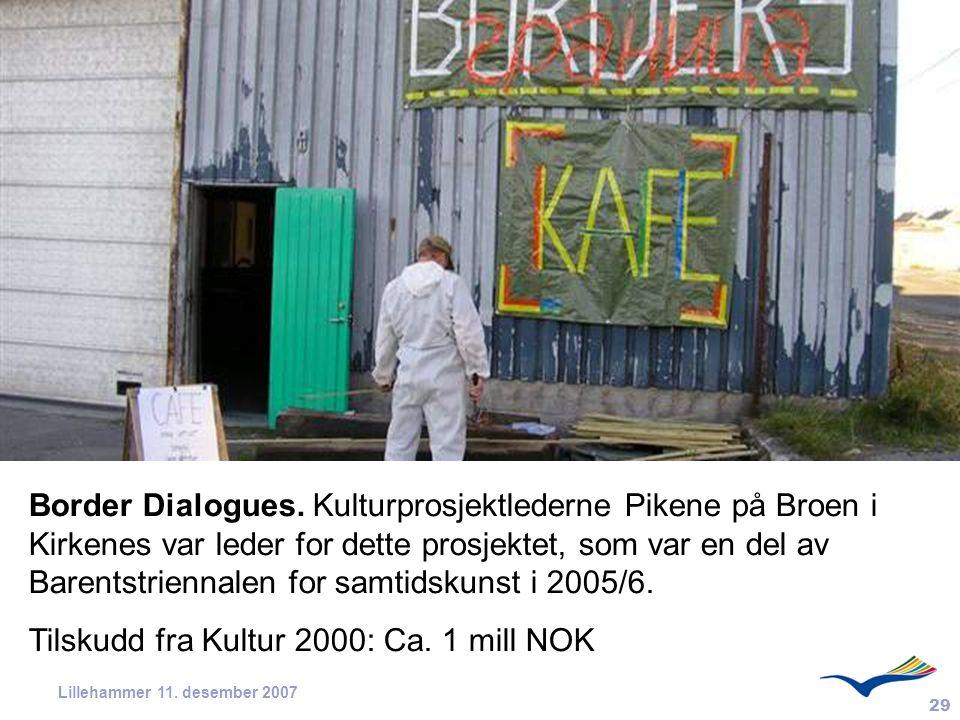 29 Lillehammer 11. desember 2007 Border Dialogues. Kulturprosjektlederne Pikene på Broen i Kirkenes var leder for dette prosjektet, som var en del av