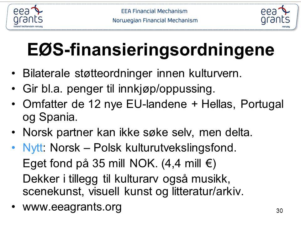 30 EØS-finansieringsordningene Bilaterale støtteordninger innen kulturvern. Gir bl.a. penger til innkjøp/oppussing. Omfatter de 12 nye EU-landene + He