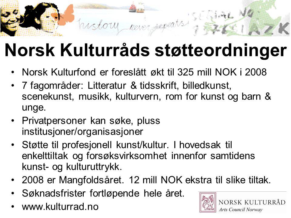 31 Norsk Kulturråds støtteordninger Norsk Kulturfond er foreslått økt til 325 mill NOK i 2008 7 fagområder: Litteratur & tidsskrift, billedkunst, scen