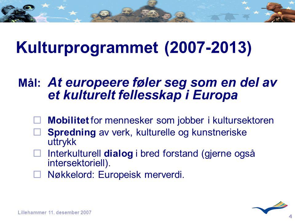 4 Lillehammer 11. desember 2007 Kulturprogrammet (2007-2013) Mål: At europeere føler seg som en del av et kulturelt fellesskap i Europa  Mobilitet fo