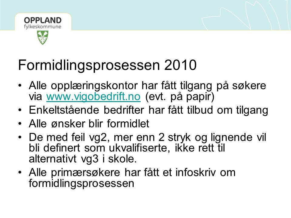 Formidlingsprosessen 2010 Alle opplæringskontor har fått tilgang på søkere via www.vigobedrift.no (evt.